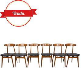 Suite de 6 chaises scandinaves design années 60