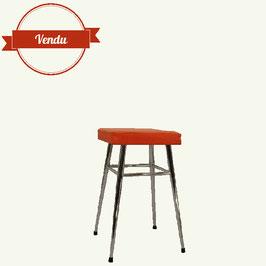 Tabouret orange vintage assise texturée