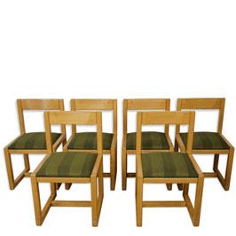 Suite de 6 chaises style scandinave en bois et tissu