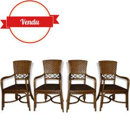 Suite de 4 chaises à accoudoirs design des années 60 en rotin et métal