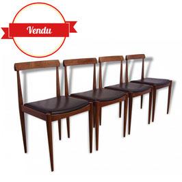4 Superbes chaises scandinaves, danoises teck vers 1960