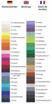 Farbauswahl Fashion Line Einfassband Schabracken
