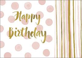 Umschlagkarte Happy Birthday rosa