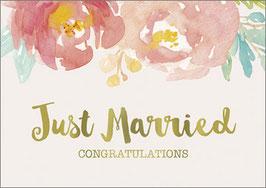 Umschlagkarte Just Married Flower Bouquet