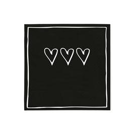 Servietten Hearts Black