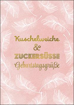Postkarte Kuschelweiche & zuckersüße Geburtstagsgrüße