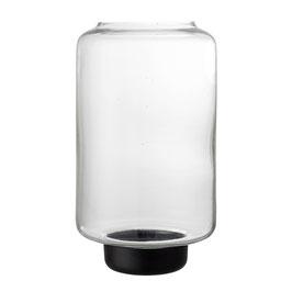 Windlicht Glas mit schwarzem Fuß