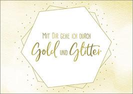 Postkarte Gold und Glitter