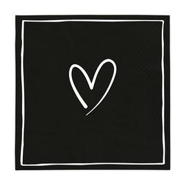 Servietten Heart black (Rückseite Happy)