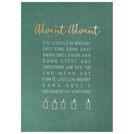 Weihnachtskarte Advent Advent