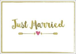 Umschlagkarte Just Married gold