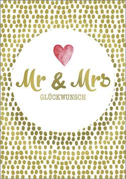 Postkarte Mr&Mrs Glückwunsch