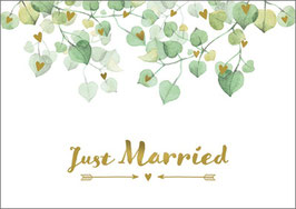 Umschlagkarte Just Married Eukalyptus