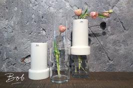 Vase white Keramik und Glas