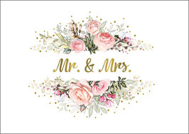 Postkarte Mr and Mrs Bouquet