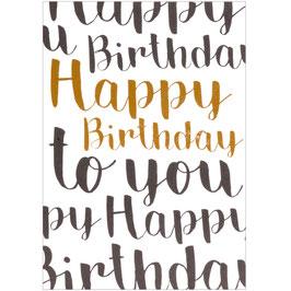 Postkarte Happy Birthday Kupfer
