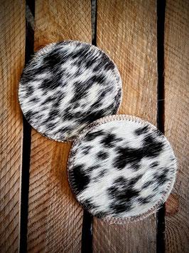 Koeienhuid onderzetters zwart-wit gevlekt