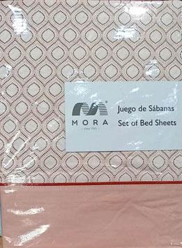 Sabanas Mora 200cm.  50/50 Algodón/poliester. Color Salmon rosaceo