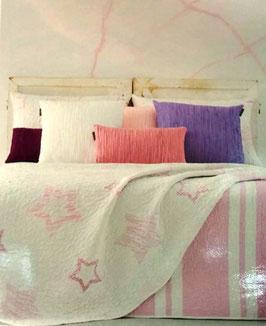 Colcha verano Manterol rosa, blanco estrellas. Reversible