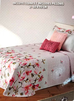 Colcha verano Manterol rosa flores. Reversible hojas azul y verde