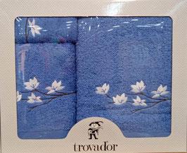 Juego de toallas bordadas Nenufar Trovador color azul