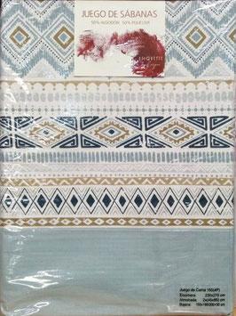 Sabanas Etiquette 150 cm. 50/50 color azul grisaceo2 almohadas