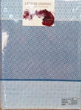 Sabanas Etiquette 135 cm. 50/50 color azul 2