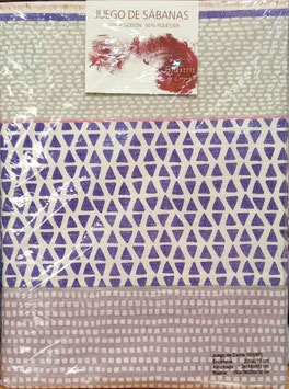 Sabanas Etiquette 150 cm. 50/50 color morado 2 almohadas
