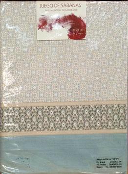 Sabanas Etiquette 150 cm. 50/50 color celeste 2 almohadas