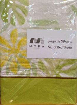 Sabanas Mora 200cm.  50/50 Algodón/poliester. Color Verde