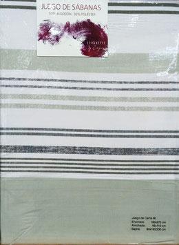 Sabanas Etiquette 90 cm. gris/beig rayas