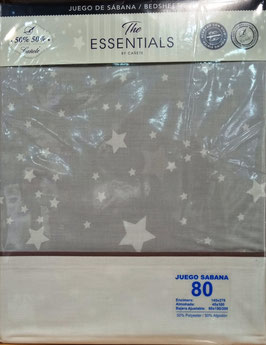 Sabanas Cañete estrellas 80cm.  50/50 Algodón/poliester. Color gris y blanco