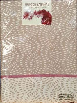 Sabanas Etiquette 150 cm. 50/50 color marrón 2 almohadas