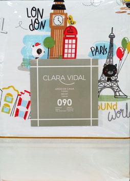 Sabanas Clara Vidal 90 cm. color beig claro monumentos Europeos