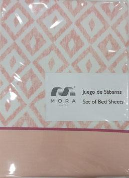 Sabanas Mora 160cm. 50/50 algodon/poliester alta calidad rosa salmon