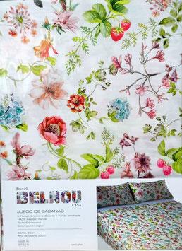 Sabanas Trovador 150 cm. alta calidad 100% algodón . Natura flores