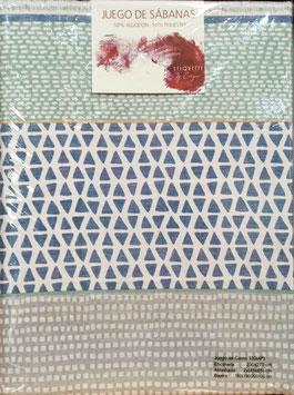 Sabanas Etiquette 150 cm. 50/50 color azul y gris 2 almohadas