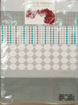 Sabanas Etiquette 150 cm. 50/50 color gris 2 almohadas