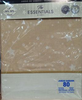 Sabanas Cañete estrellas 80cm.  50/50 Algodón/poliester. Color beig y blanco