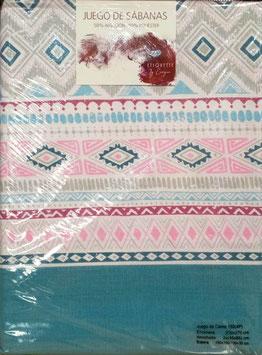 Sabanas Etiquette 150 cm. 50/50 color azul y rosa 2 almohadas