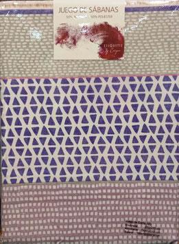 Sabanas Etiquette 180 cm.  50/50 algodon/poliester. Color Morado