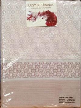 Sabanas Etiquette 150 cm. 50/50 color rosa palido 2 almohadas