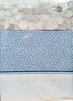 Sabanas Manterol 90 cm. puntitos azul