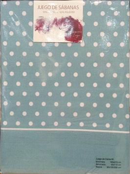 Sabanas Etiquette 90 cm. azul lunares