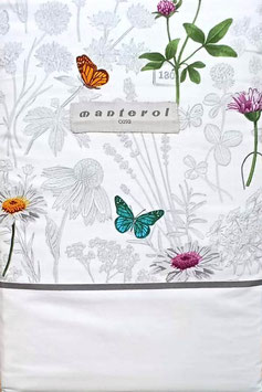 Sabanas Manterol 180 cm.  Mariposas Color Gris y blanco 100% algodon