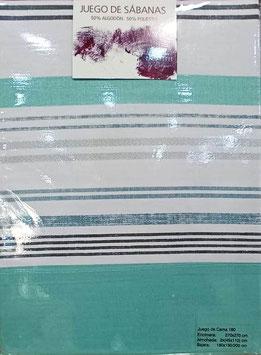 Sabanas Etiquette 180 cm.  50/50 algodon/poliester. Color Verde