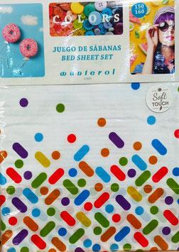 Sabanas Manterol 150 cm. alta calidad. Puntos de colores