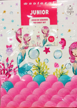 Sabanas La Sirenita Manterol 90cm. color rosa