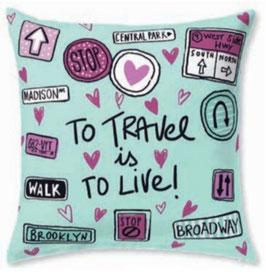 Funda cojin algodón 60x60 To travel is to live