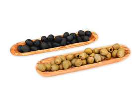 2er Set Schalen BOOT (L25 cm) aus Olivenholz für Oliven